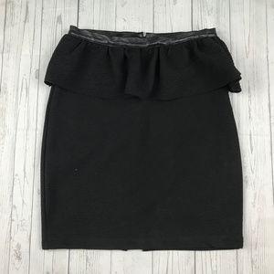 Zara W&B Collection black faux leather trim skirt